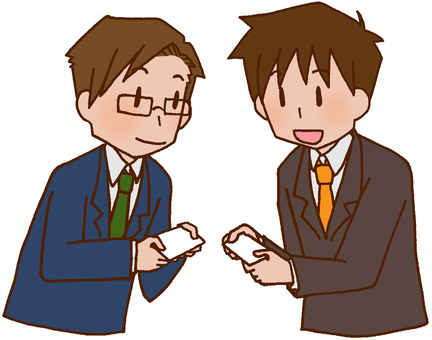 Businessman / business card exchange / greeting