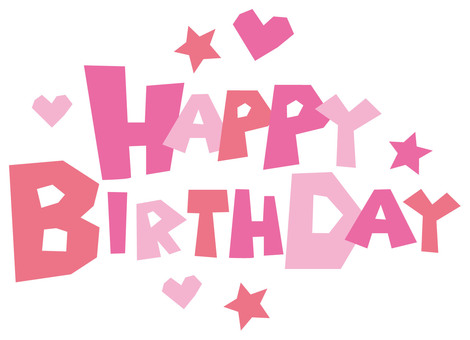 Happy birthday character POP English letter pink type