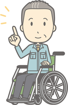 Middle-aged man work clothes - wheelchair pointing - whole body