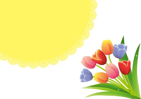 노란 레이스와 봄 튤립 프레임
