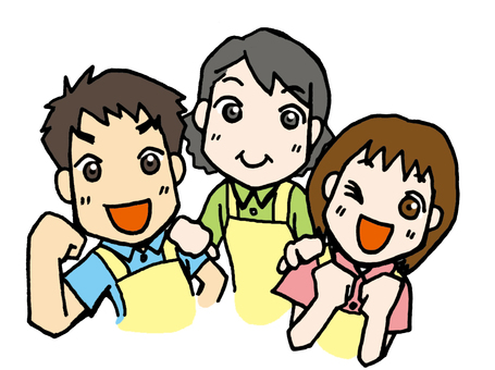 3 men and women of apron
