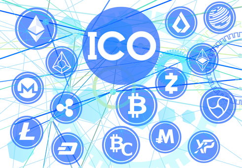 ICO New virtual currency release and virtual currency white background
