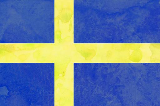 국기 수채화 스웨덴