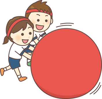 Rolling large balls (Hachimaki, red group)