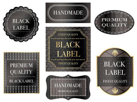 Set of black labels