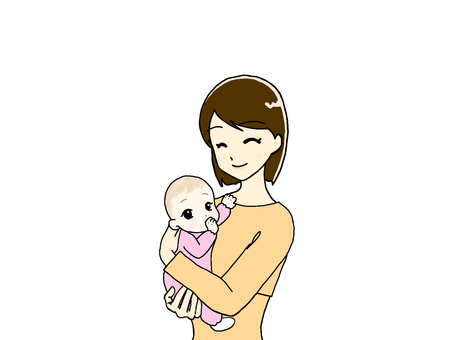 Mom holding a baby _ Upper body ④
