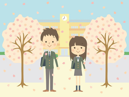 Cherry blossoms and high school students