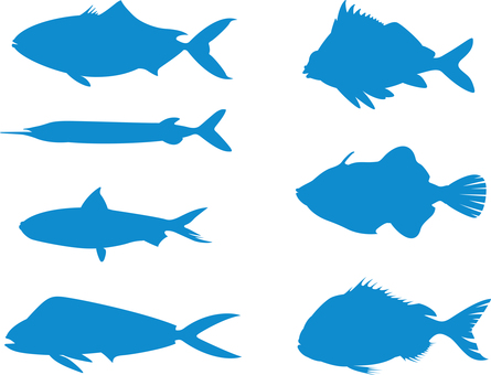 Fish silhouette blue