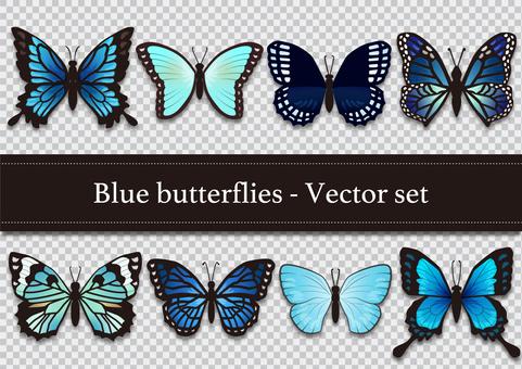 いろんな蝶のイラストセット(青)