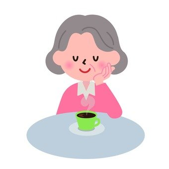 Granny who takes a break with drinking coffee