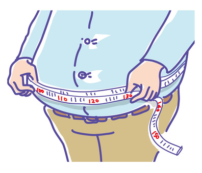 A fat person measuring the waist