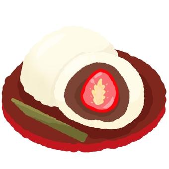 Strawberry Daifuku on a plate