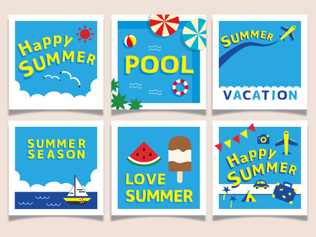 Summer card colorful pop square