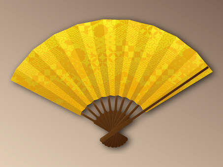 Fan gold leaf style Edo pattern mosaic