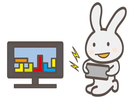 Enjoying video games Bunny-chan