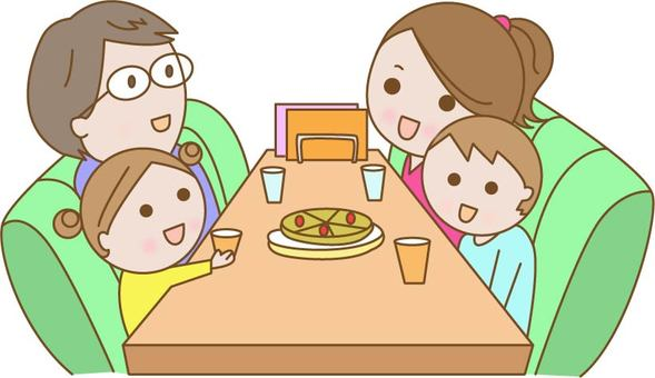 Parent and child to eat at family restaurant