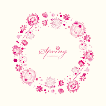 Spring background frame 055 flower water color circle