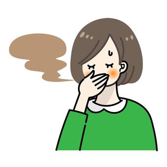 A woman who smells bad breath