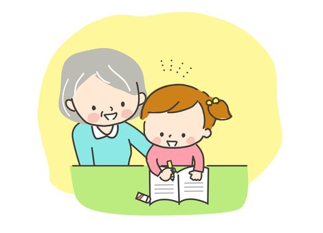勉強する子供と見守るおばあちゃん2