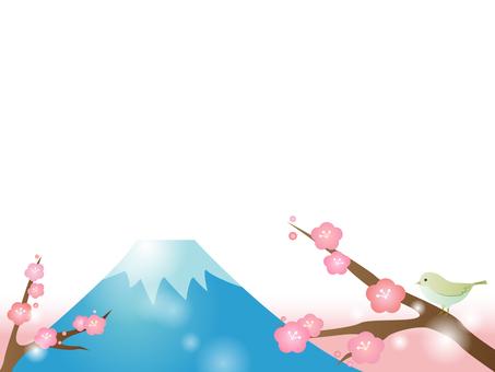 Decorative frame 2 of plum and Mt. Fuji 2