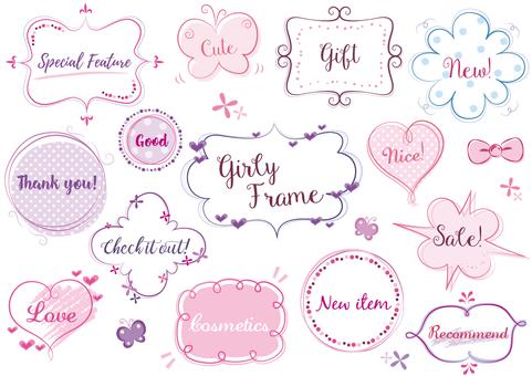 Girly hand-drawn frame