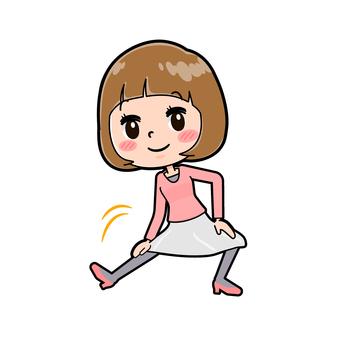 핑크 옷 젊은 여성 伸脚