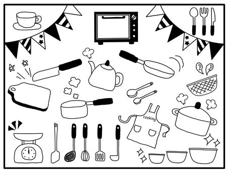 Hand drawn style kitchen tool illustration
