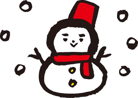 Red muffler Snowman