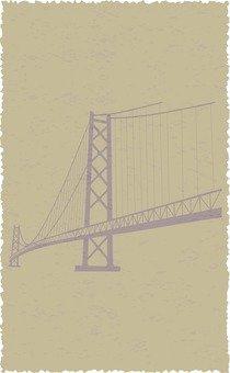 Stamp of suspension bridge