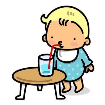 Illustration of a baby drinking water on a table
