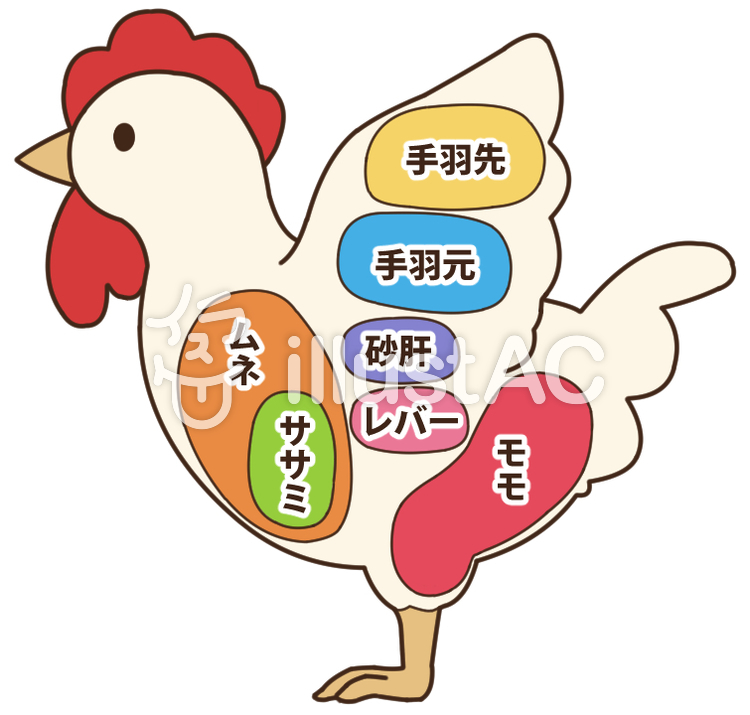 鶏肉の部位シンプルイラスト No 1325483無料イラストなら