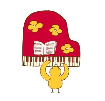 鳥がピアノを弾いているイラスト01