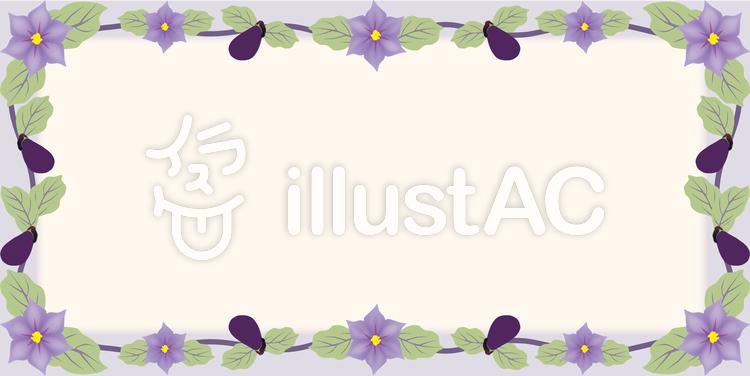 ナスの花フレームのイラスト