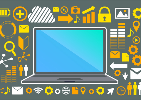 Illustration of flat design personal computer