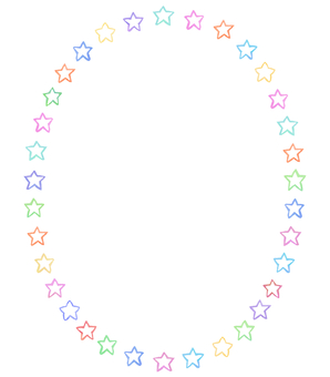 Water color star circle frame 2