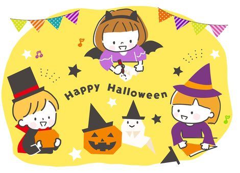 Children preparing for Halloween with origami
