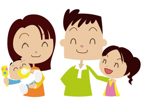 若い仲良し家族