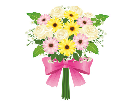 White Roses and Gerbera Bouquets Arrangement 04