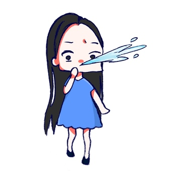 Girl blowing water