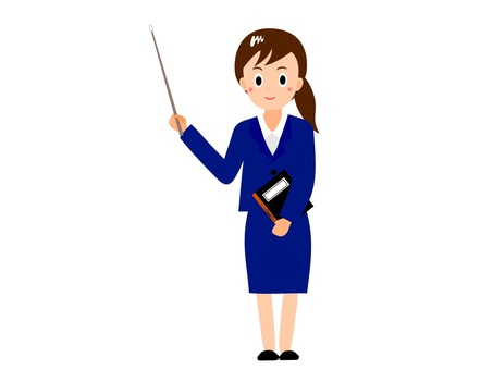 Woman teacher with pointing stick