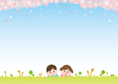 Children lying on the grass on spring _ Cherry blossoms B 01