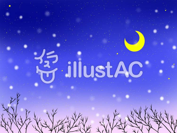 雪の降る月夜のイラスト