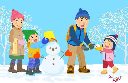 家庭家庭下雪例證