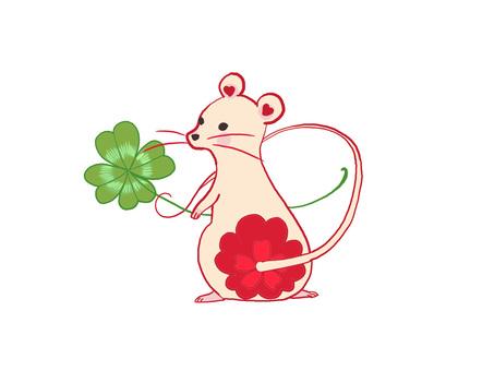 紅色花老鼠背景白色