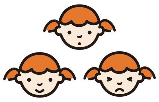 Child facial expression set_girl