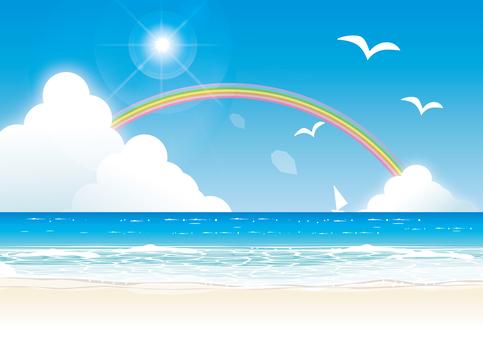 蓝蓝的天空,彩虹和夏天的海