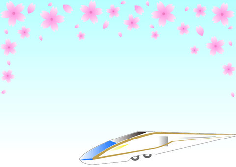 Shinkansen and cherry blossoms