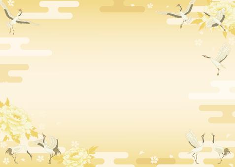 鶴和柄 背景 イラスト