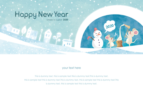 冬季背景框架072新年鼠標水彩