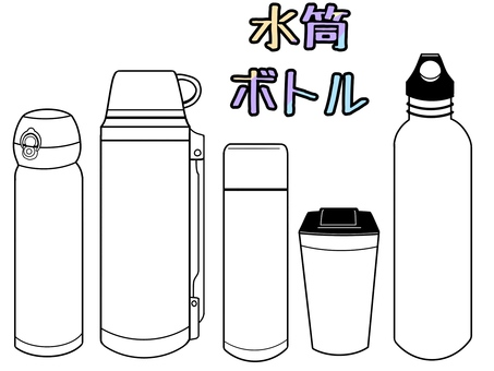 Water bottle and bottle drawing